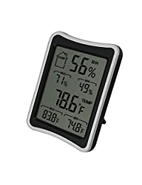 BENGOO Indoor Humidity Monitor Thermometer Digital Hygrometer Monitor with Stand and Large LCD Display Works in Celsius and Fahrenheit for Home Living Room Offic - Black