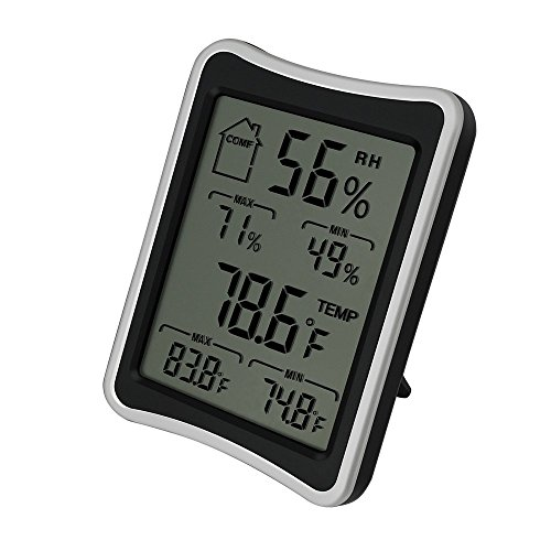 BENGOO Indoor Humidity Monitor Thermometer Digital Hygrometer Monitor with Stand and Large LCD Display Works in Celsius and Fahrenheit for Home Living Room Office – Black
