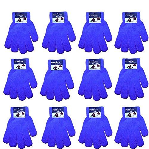 Childrens Gloves Magic (FoMann Kids Magic Gloves Children Knit Gloves Wholesale 12 Pairs(2 to 6 years) (Blue))