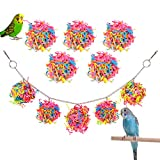 Pawaboo Bird Parrot Toys, 10 Colored Paper Rattan Balls, Bird Cage Hammock Hanging Swing Toy for Small Bird Parakeets, Cockatiels, Conures, Budgie, Lovebirds, Hummingbird, Finches, Colorful