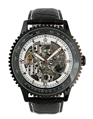 Carrie Hughes Men Black Steampunk Automatic Mechanical Skeleton Luminous Hand Stainless Steel Watch CH129