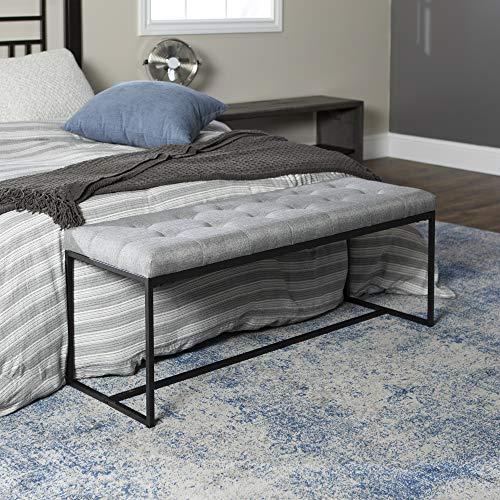Walker Edison Furniture Company Modern Tufted Upholstered Entryway Cushion Hallway Metal Bedroom Bench Ottoman, Grey
