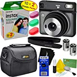 Fujifilm instax Square SQ6 Instant Film Camera (Graphite Gray) + Instax Square Twin Pack Film (20 Sheets) + 3 Color Filters + Carrying Case + 2 Batteries + Strap + HeroFiber Gentle Cleaning Cloth