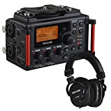 TASCAM DR-60D Linear PCM Recorder For DSLR Filmmaking / Field Recording + Tascam TH Series TH-MX2 Studio Headphones