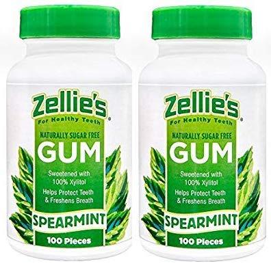 (Zellies Spearmint Gum, 100 Count Jar (Set of 2))