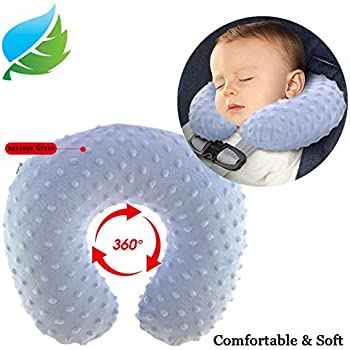 Baby Travel Pillow Inflatable Neck Pillow Soft Plush Velour Small 1-4 Years
