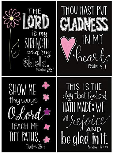 Psalms of Joy - Chalkboard Birthday Cards with KJV Scripture - Set of 12