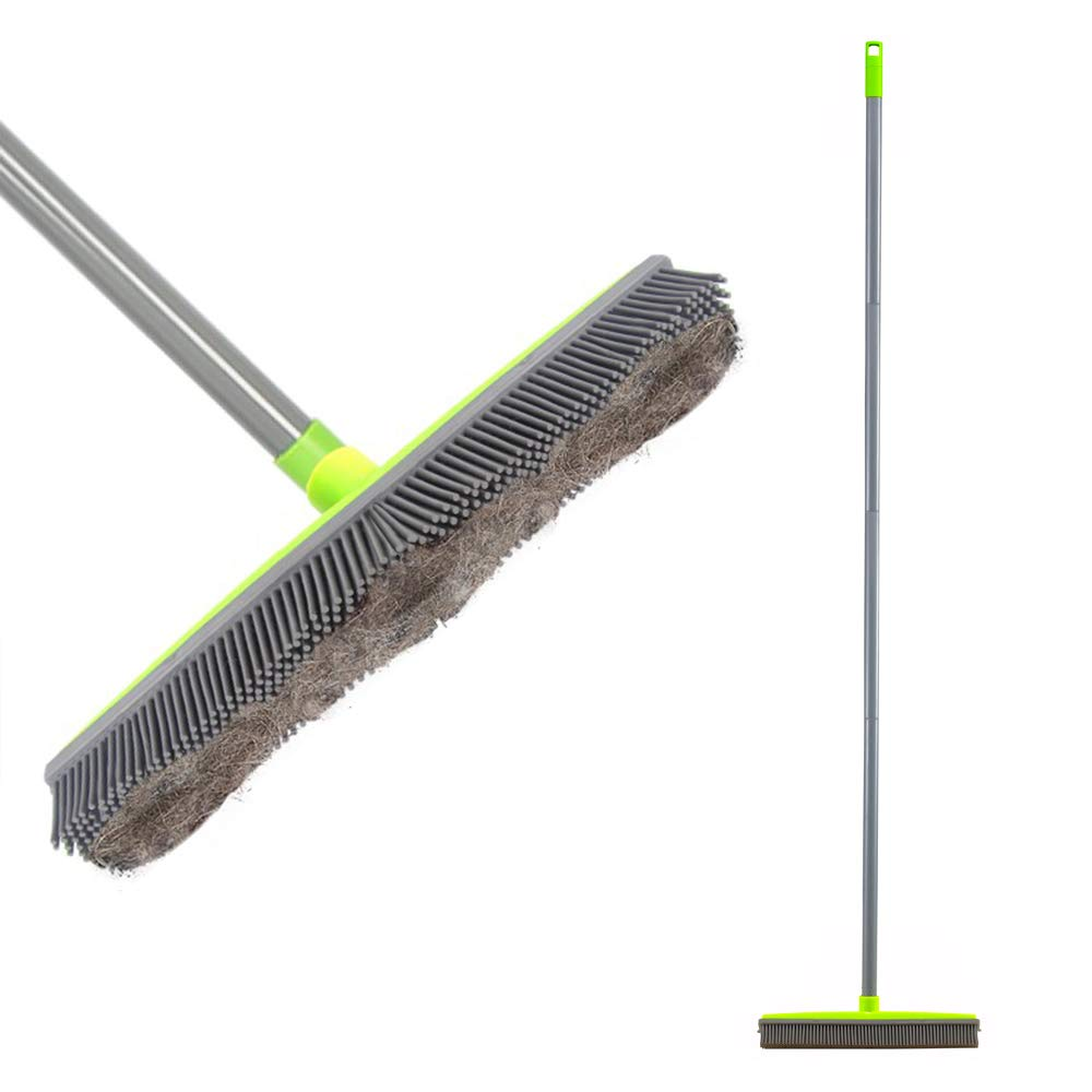 Iamagie Push Broom Long Handle Rubber Bristles Sweeper Squeegee Edge 59 inches Non Scratch Bristle Broom for Pet Cat Dog Hair Carpet Hardwood Tile Windows Clean Water Resistant by Iamagie