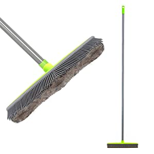 Iamagie Push Broom Long Handle Rubber Bristles Sweeper Squeegee Edge 59 inches Non Scratch Bristle Broom for Pet Cat Dog Hair Carpet Hardwood Tile Windows Clean Water Resistant