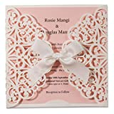 WISHMADE 50 Count Laser Cut Wedding Invitations Square White and Pink Cards with Bow Lace Sleeve for Baby Bridal Shower Birthday Engagement Quinceanera (Set of 50pcs)