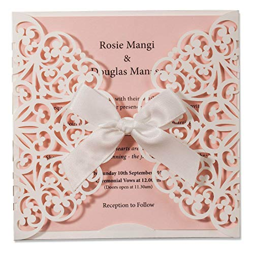 (WISHMADE 50 Count Laser Cut Wedding Invitations Square White and Pink Cards with Bow Lace Sleeve for Baby Bridal Shower Birthday Engagement Quinceanera (Set of 50pcs))