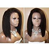 Natural Color Italian Yaki Short Bob Cuts Brazilian Virgin Human Hair Full Lace Wigs For Black Women Short Glueless Lace Front coarse yaki Wig Bob with Baby Hair (10 Inch Lace Front Wig)