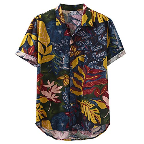Lovygaga Men Summer Popular Beach Breathable Linen Hawaiian Blouse Casual Short Sleeve Plus Size Tee Shirt Tops