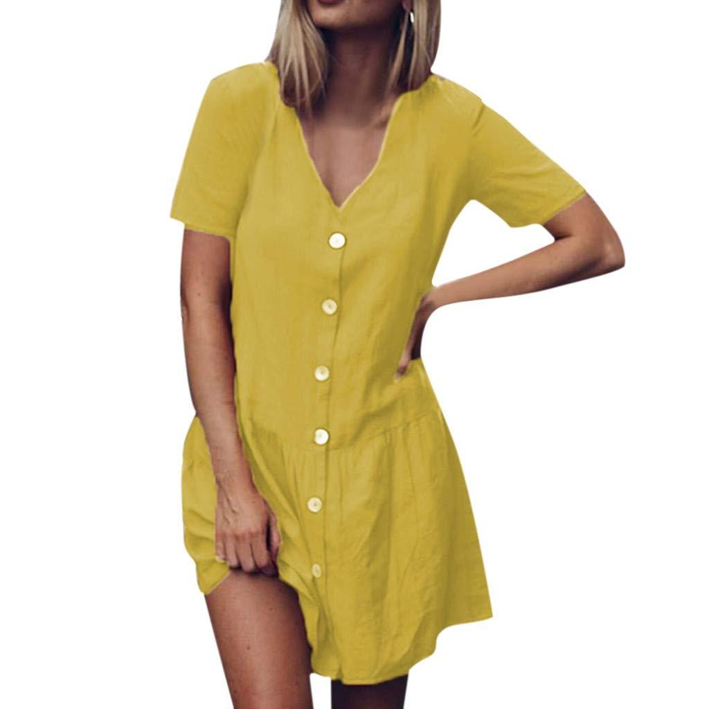 TRENDINAO 2019 Women Solid V-Neck Short Sleeve Buttons Ruffles Hem Cottons and Linen Mini Dress Yellow by TRENDINAO