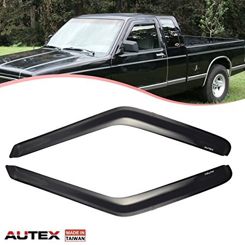 (AUTEX Tape-on Window Visor Compatible with Chevy Blazer 1995-2005, S10 Pickup 1994-2004 Compatible with GMC Jimmy 1995-2001 Side Window Deflectors Rain Guard, Made in Taiwan)