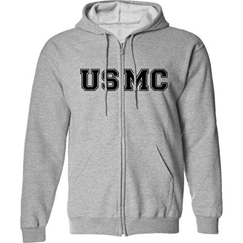 Grey Physical Training Zipper Sweatshirt - USMC Full-Zip Hooded Sweatshirt in Gray - X-Large