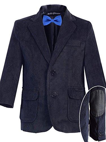 Bello Giovane Boys Navy Corduroy Blazer SZ 8-14 (Pick Your Free Bow Tie) (12, Royal (Boys Corduroy Blazer)