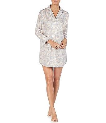 fa34da35185 Lauren Ralph Lauren Womens Long Sleeve Button-Down Sleep Shirt (Light Blue  Paisley