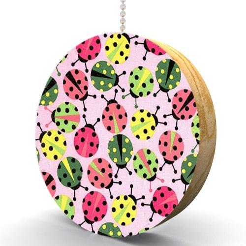 Ladybug Pastel Hardwood Oak Fan/Light Pull