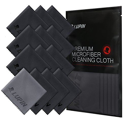 Lupin Microfiber Cleaning Cloths, 13 Pack Premium Ultra Lint Polishing Cloth for Cell Phone, Tablets, Laptops, iPad, Glasses, Auto Detail, TV Screens & Other Surfaces w/ Carrying Case - Black