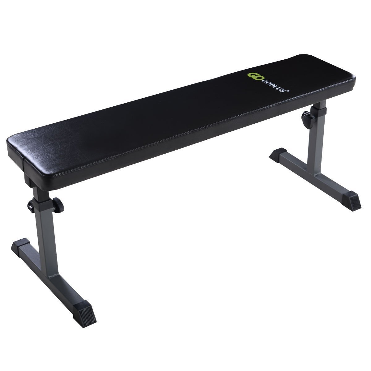 Goplus Flat Weight Bench Height 440-lb Capacity Adjustable Height Heavy Duty Lifting and Ab Workout Padded Bench