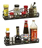 2 Wall-Mounted Black Scroll Spice Racks - Single-Shelf Hanging Spice Organizers – Provides Storage for Kitchen, Pantry, Bathroom - Powder-Coated Metal by Unum – 2 Pack