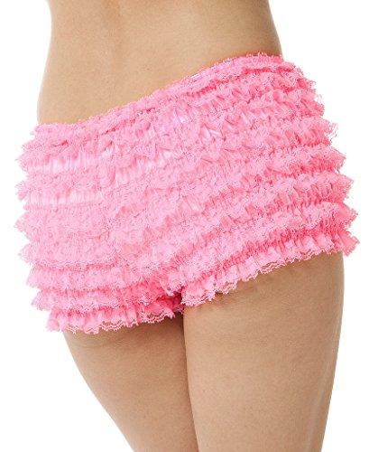 BellaSous Womens Sexy Ruffle Panties Tanga Dance Bloomers Sissy Booty Shorts (Hot Pink, - Hot Ruffle Panty Short