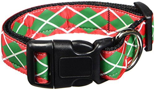 Christmas Pet Ribbon Dog Collar (Mirage Pet Products Christmas Argyle Nylon Ribbon Collar, Medium)