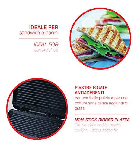 Ardes AR1S10 Sandwich / Panini Maker 2 Fette SFIZIO ECO Piastre Rigate Antiaderenti Griglia Elettrica con Spie Luminose 4