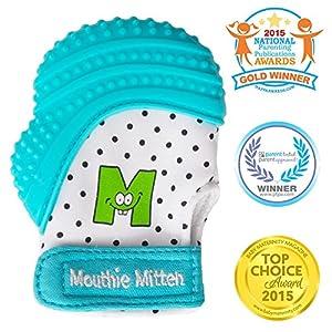 Mit/ón manopla de para dentici/ón silicona diferentes colores Gris Mouthie Mitten 0-12 Mois Recommand/ée pour les b/éb/és de 3-8 mois