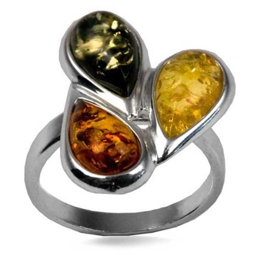 Sterling Silver Multicolor Amber Medium Size Teardrop Ring All Size Amber by Graciana 1071