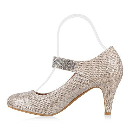 Stiefelparadies Damen Pumps Mary Janes mit Stilettoabsatz Strass Glitzer Flandell Gold