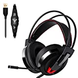 ABTW USB Gaming Headset 7.1 Channel Virtual Surround Stereo Wired Headphones with Noise Canceling Microphone, Provide the Subwoofer Effect, Volume Control, LED Light - for MAC PC Laptops Black