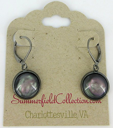 Mystical Collection - Hematite-tone Faux Stone Resin Lever-back Drop Earrings Mystical Gray Pink