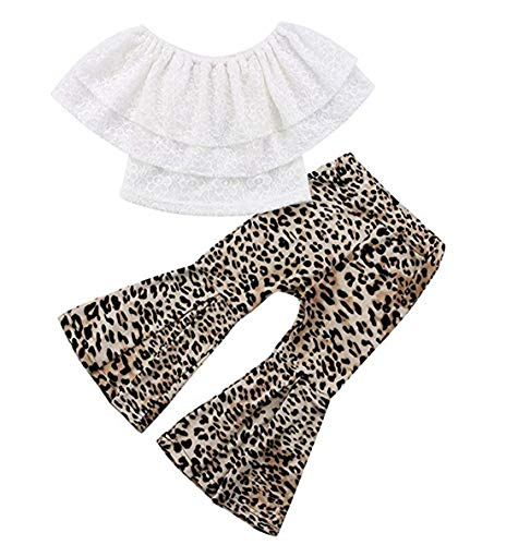 Baby Kids Girl Off-Shoulder T-Shirt Top + Long Flare Pants Ruffled Short-Sleeve Outfit Clothes Set (White+Leopard, 5-6Y)
