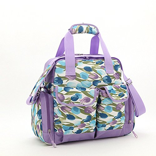 Salir para ser el paquete producido, bolso de la momia, bolso de hombro, solo hombro de gran capacidad con tres bolsos, bolso de la madre, bolso del bebé de la madre ( Color : Khaki ) Purple