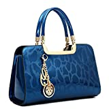 Women's Patent Leather Handbags Designer Totes Purses Satchels Handbag Ladies Shoulder Bag Embossed Top Handle Bags (Blue)
