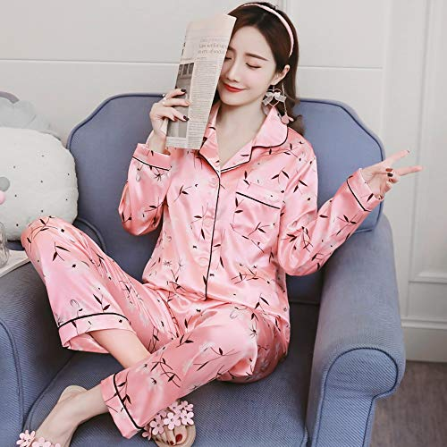 Hielo Primavera Seda Xxl De Mujeres Pijamas Pijamas Servicio Manga Dos Larga Baujuxing Camisón Pantalones Casa Piezas Seda Xl Serie Otoño Y a7gHqxwAt