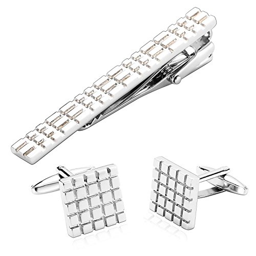 - ANAZOZ Stainless Steel Jewelry Set for Men Womens Cufflinks Set Silver 1.5x1.5CM