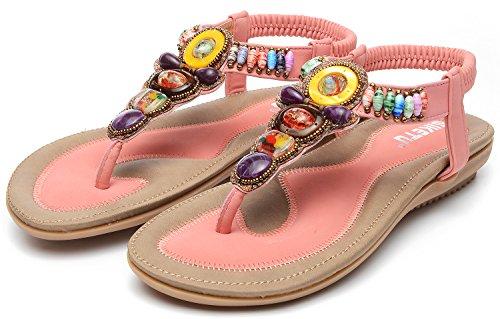 ODEMA Women Summer Bohemian Gemstone Rhinestone Boho Beach Flip Flops Elastic T-Strap Flat Sandals Pink dg0CHczmq
