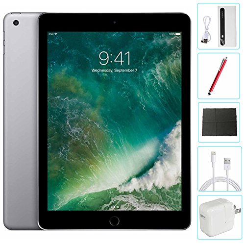 Apple iPad 9.7 inch 32GB Space Gray Generation 5 Accessories Bundle(10,000mAh iPad Power Bank, iPad Stylus Pen, Microfiber Cloth) by Apple