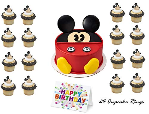 Mickey Mouse Clubhouse Face Cake Topper Set Cupcake 24 Pieces plus Birthday Card ()