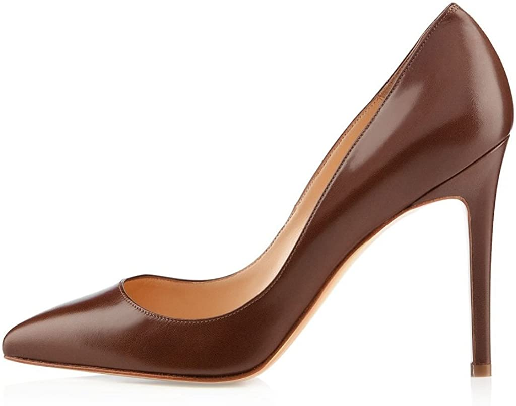 Braun 44 EU EDEFS Klassische Damenschuhe Pumps Stiletto 10cm Absatzh&ou ;he Slip On Geschlossen Schuhe