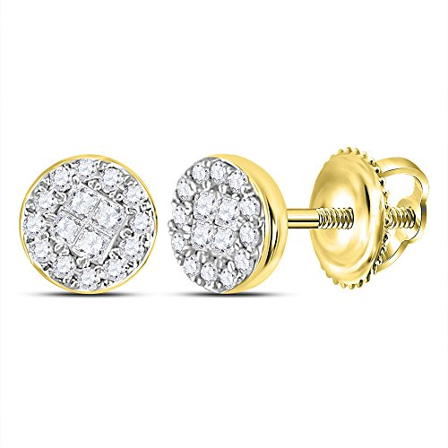 14kt Yellow Gold Womens Princess Round Diamond Soleil Cluster Earrings 1/6 Cttw 14kt Gold Birthstone Cluster Earrings