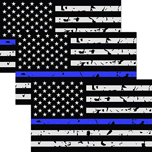 Classic Biker Gear Reflective Thin Blue Line Decal Tattered - 3x5 in. American Flag Decal for Cars and Trucks, Support Police and Law Enforcement Officers (3 Pack)