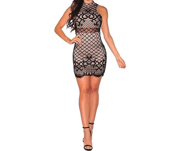 2017 Vestidos Ropa De Moda para Mujer De Fiesta y Noche Elegante Negro (L) VE0010 at Amazon Womens Clothing store:
