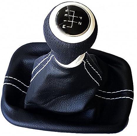 Universal Schaltknauf Schalthebel in Leder Weiß mit schwarzer Naht