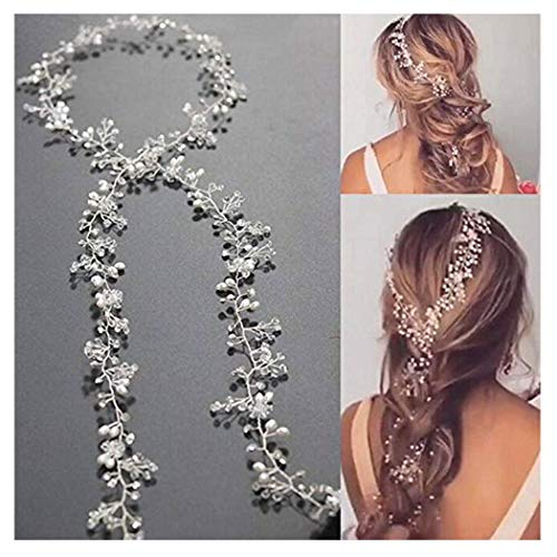 Unicra Wedding Bridal Crystal Long Hair Vines Headbands Wedding Headpiece Hair Accessories for Brides and Bridesmaids (Rose Gold)