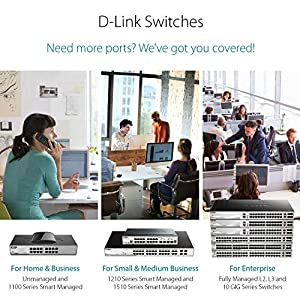 D-Link 5-Port Gigabit Unmanaged Desktop Switch, Plug and play, Fanless design, D-Link Green energy saving features…