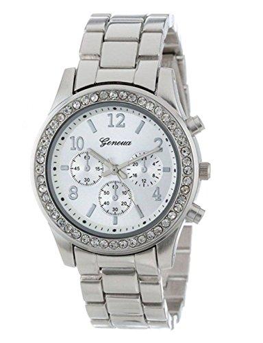 Kids Indiglo Elastic Strap Watch (Women Crystals Watch Ladies Girls Quartz Stainless Steel Band Wrist Watch Bracelet on Sale Clearance (Silver))